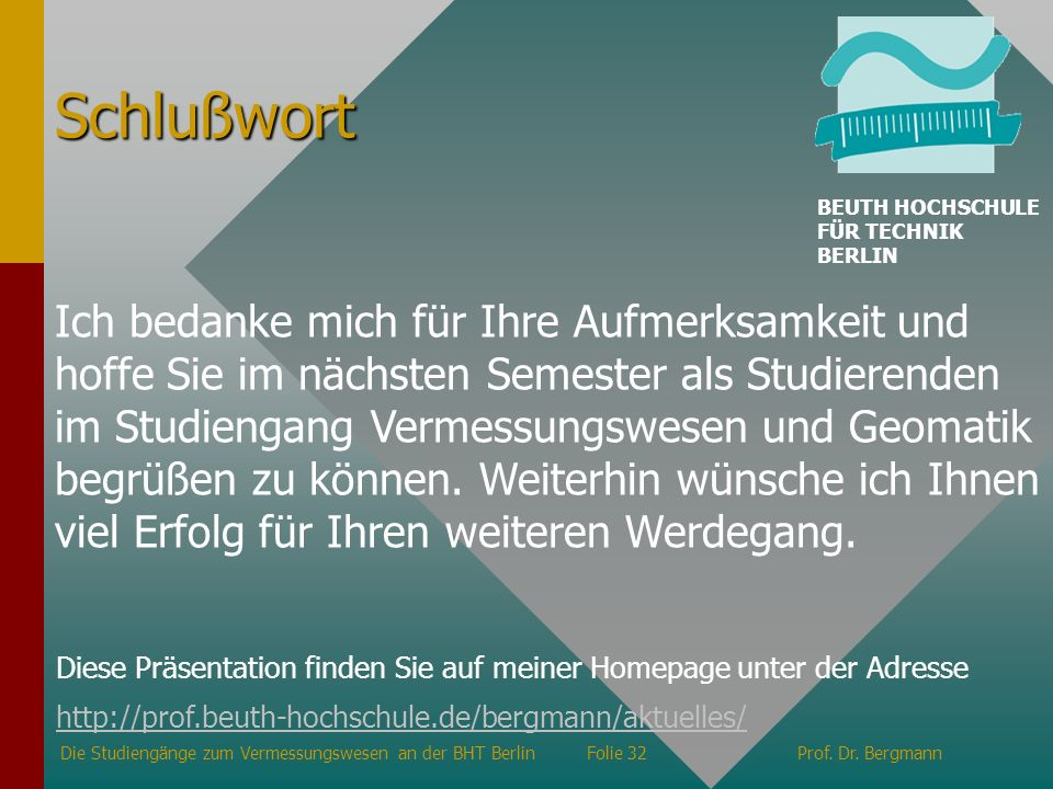 Schlußwort BEUTH HOCHSCHULE FÜR TECHNIK BERLIN.