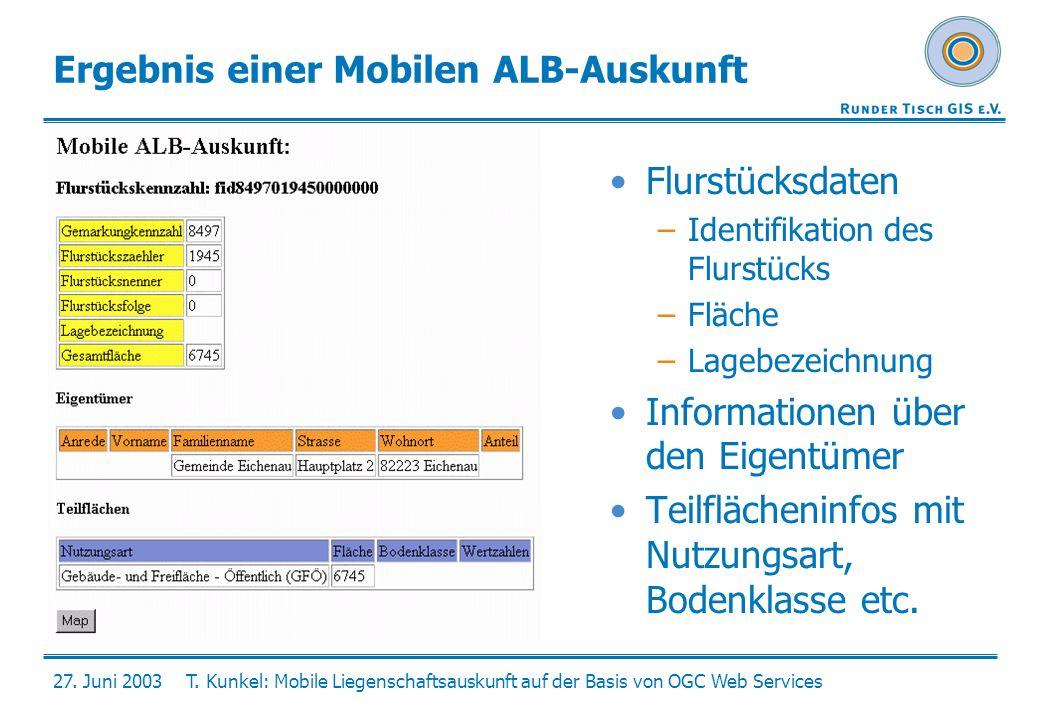 Ergebnis einer Mobilen ALB-Auskunft