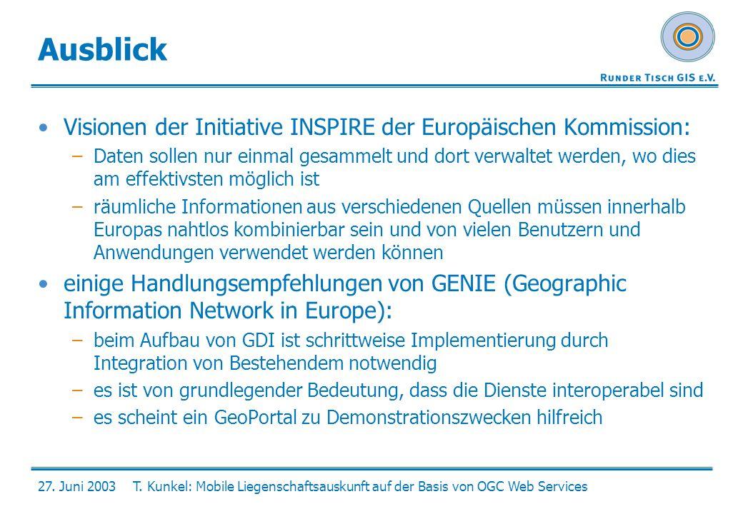 Ausblick Visionen der Initiative INSPIRE der Europäischen Kommission: