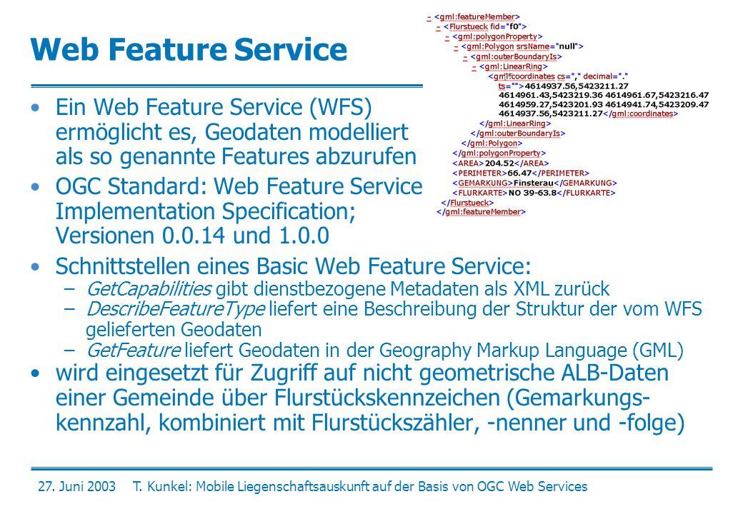 Web Feature Service Ein Web Feature Service (WFS) ermöglicht es, Geodaten modelliert als so genannte Features abzurufen.