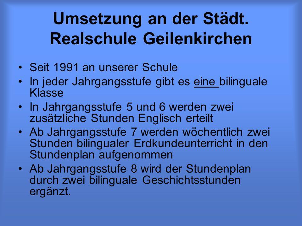 Umsetzung an der Städt. Realschule Geilenkirchen