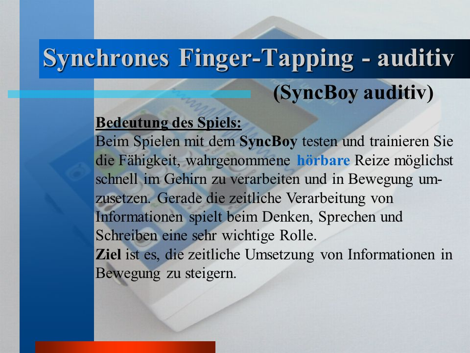 Synchrones Finger-Tapping - auditiv