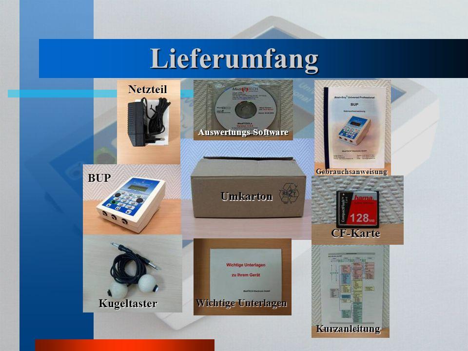 Lieferumfang Netzteil BUP Umkarton CF-Karte Kugeltaster