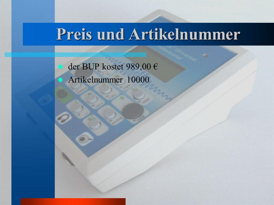 Preis und Artikelnummer