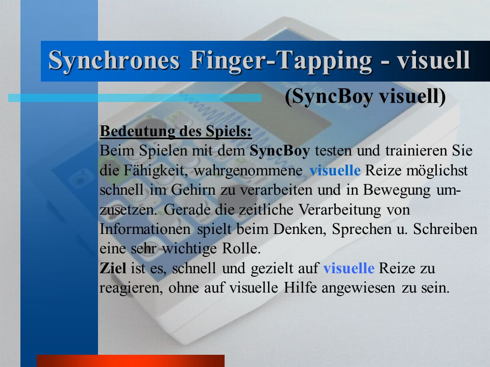 Synchrones Finger-Tapping - visuell