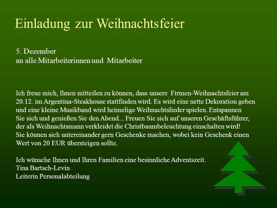 Weihnachtsfeier Mitarbeiter.5 Dezember An Alle Mitarbeiterinnen Und Mitarbeiter