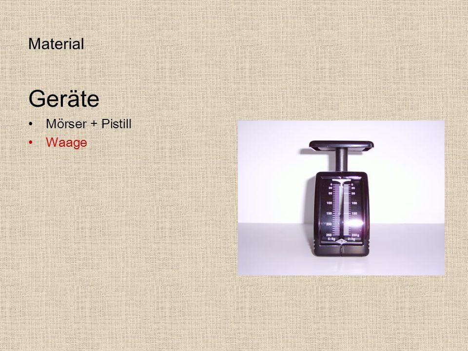 Material Geräte Mörser + Pistill Waage