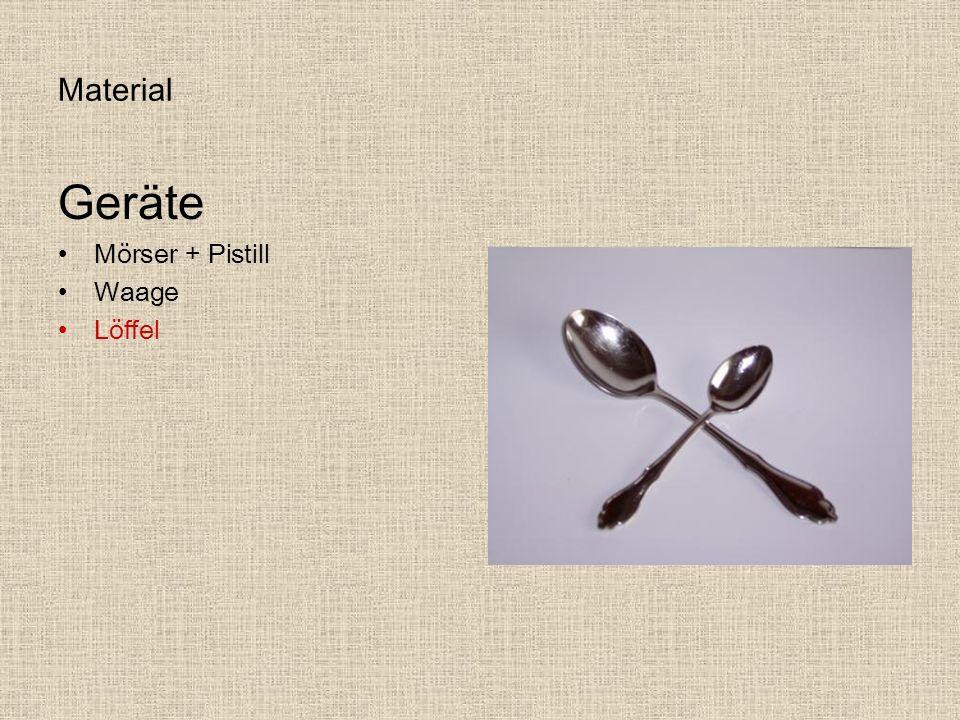 Material Geräte Mörser + Pistill Waage Löffel