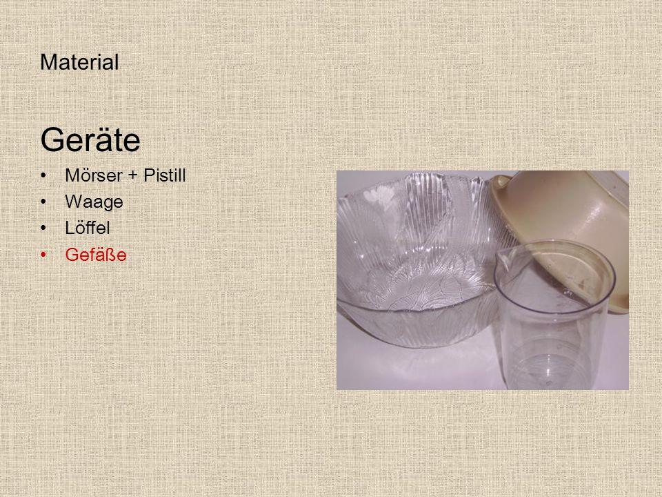 Material Geräte Mörser + Pistill Waage Löffel Gefäße