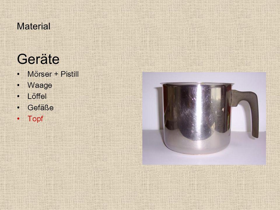 Material Geräte Mörser + Pistill Waage Löffel Gefäße Topf