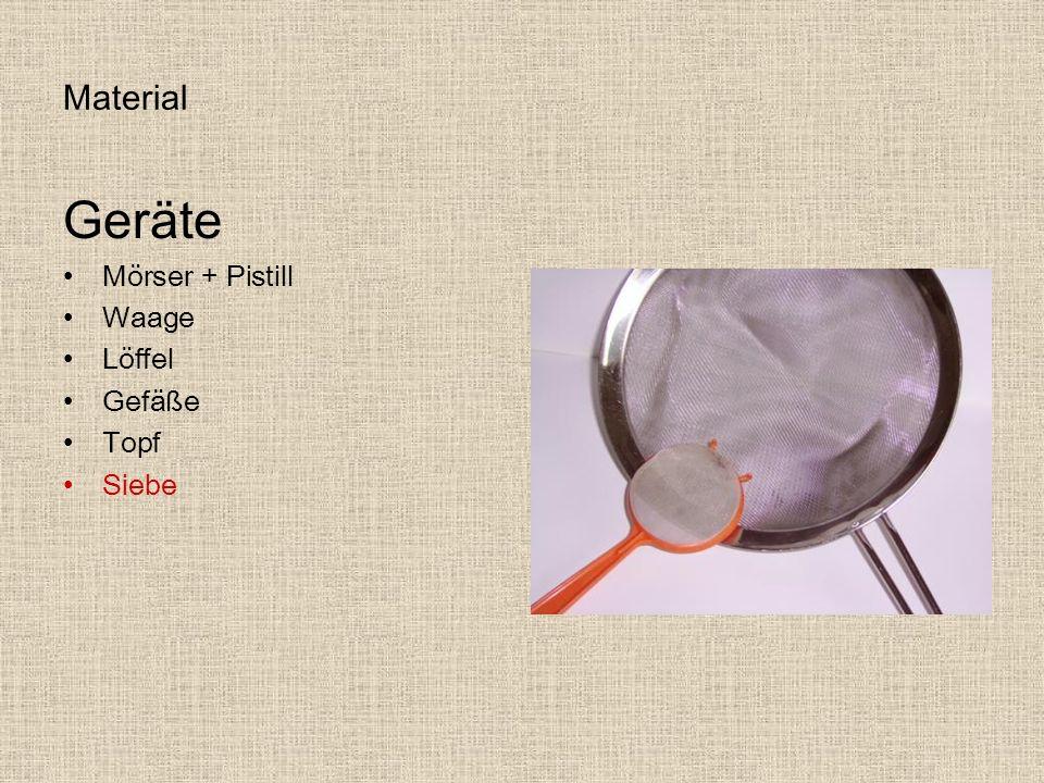 Material Geräte Mörser + Pistill Waage Löffel Gefäße Topf Siebe