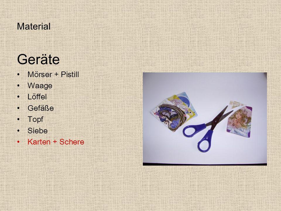 Geräte Material Mörser + Pistill Waage Löffel Gefäße Topf Siebe