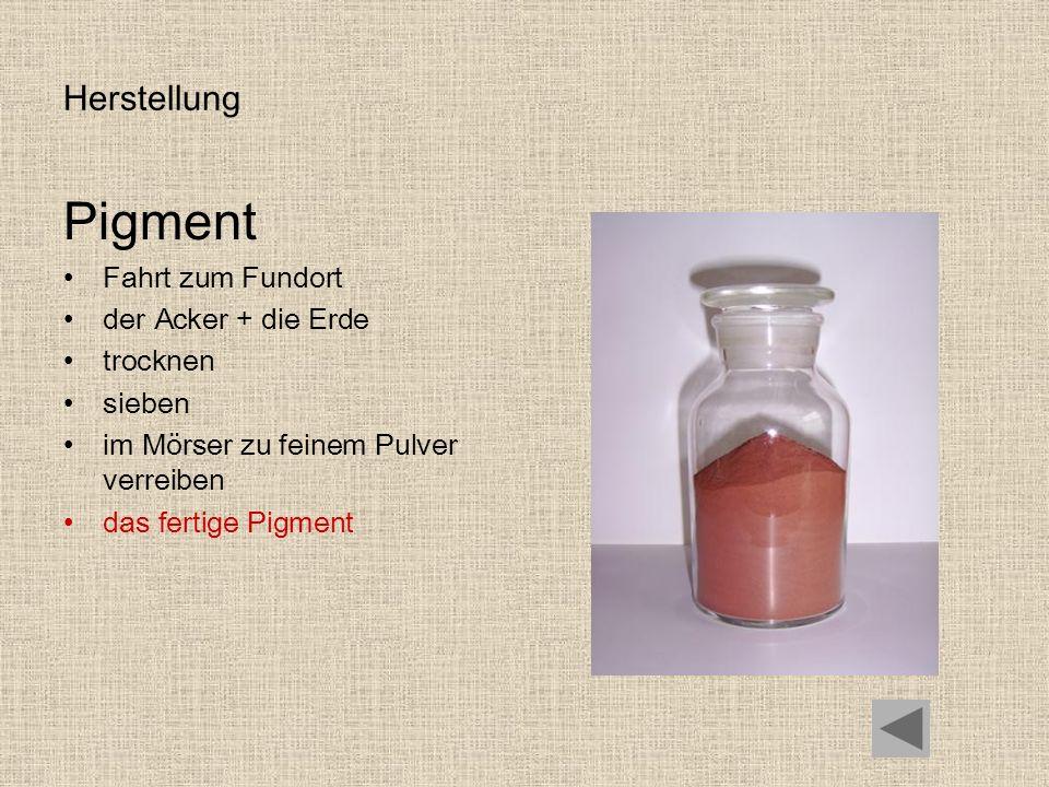 Pigment Herstellung Fahrt zum Fundort der Acker + die Erde trocknen