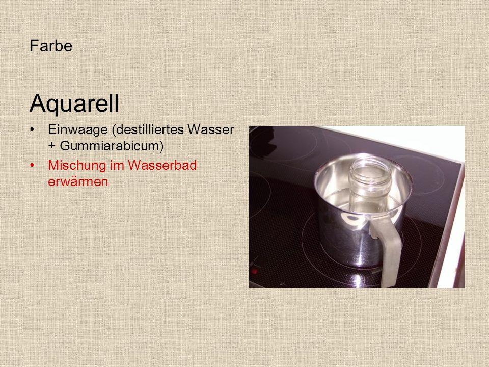Aquarell Farbe Einwaage (destilliertes Wasser + Gummiarabicum)