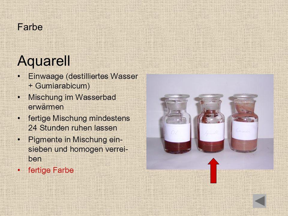 Aquarell Farbe Einwaage (destilliertes Wasser + Gumiarabicum)
