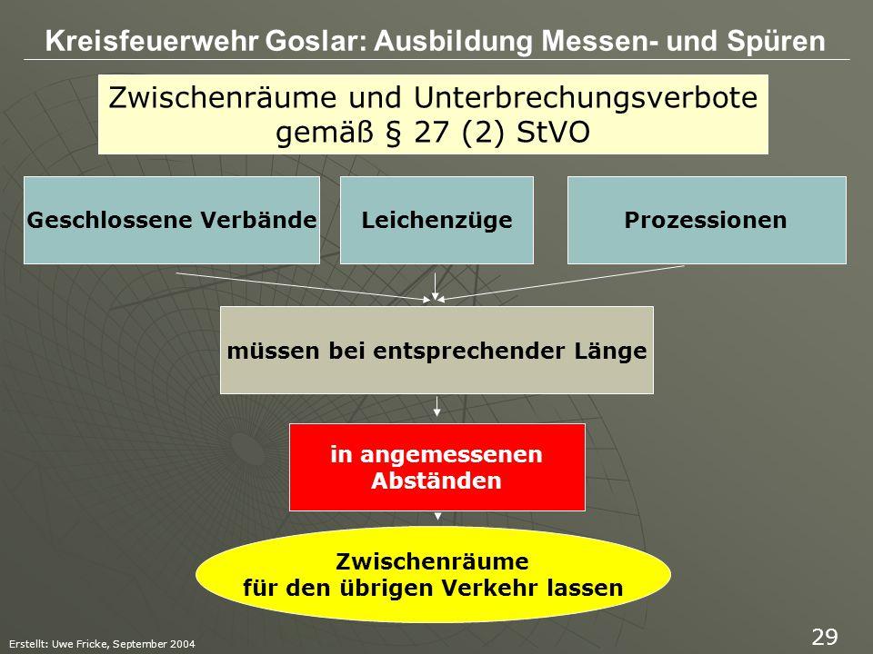 Zwischenräume und Unterbrechungsverbote gemäß § 27 (2) StVO