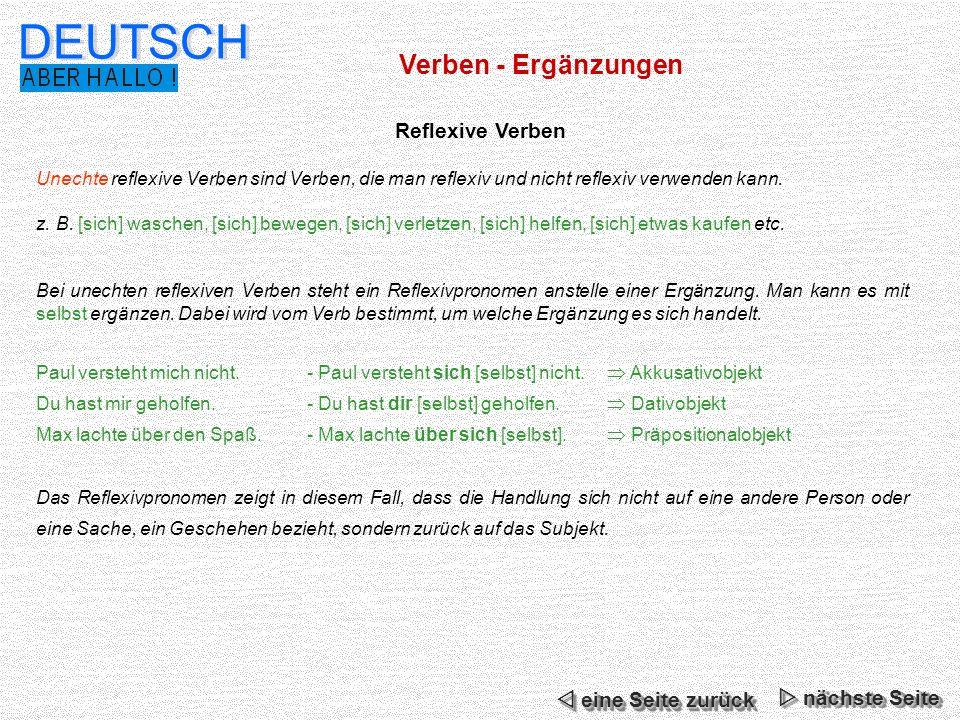 DEUTSCH Verben - Ergänzungen Reflexive Verben  eine Seite zurück
