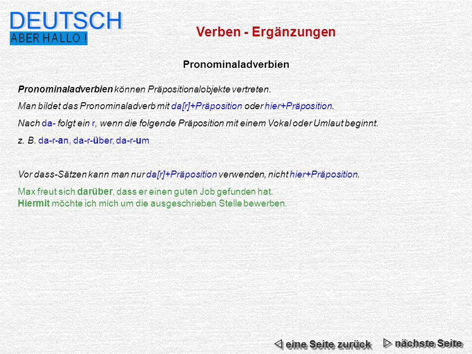 DEUTSCH Verben - Ergänzungen Pronominaladverbien  eine Seite zurück