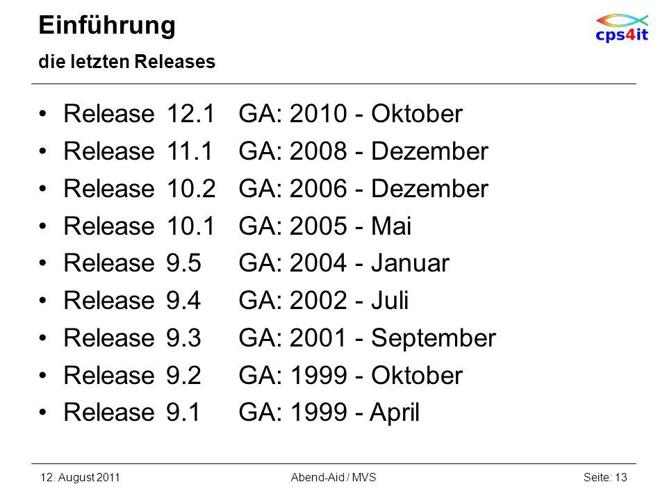 Release 9.3 GA: 2001 - September Release 9.2 GA: 1999 - Oktober