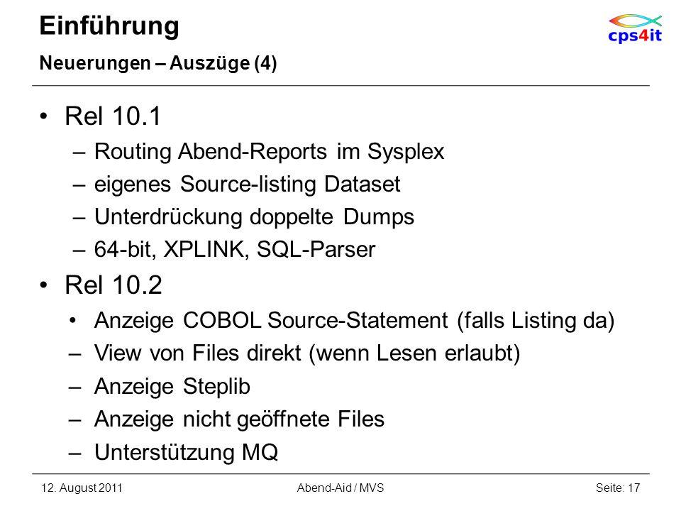 Einführung Rel 10.1 Rel 10.2 Routing Abend-Reports im Sysplex