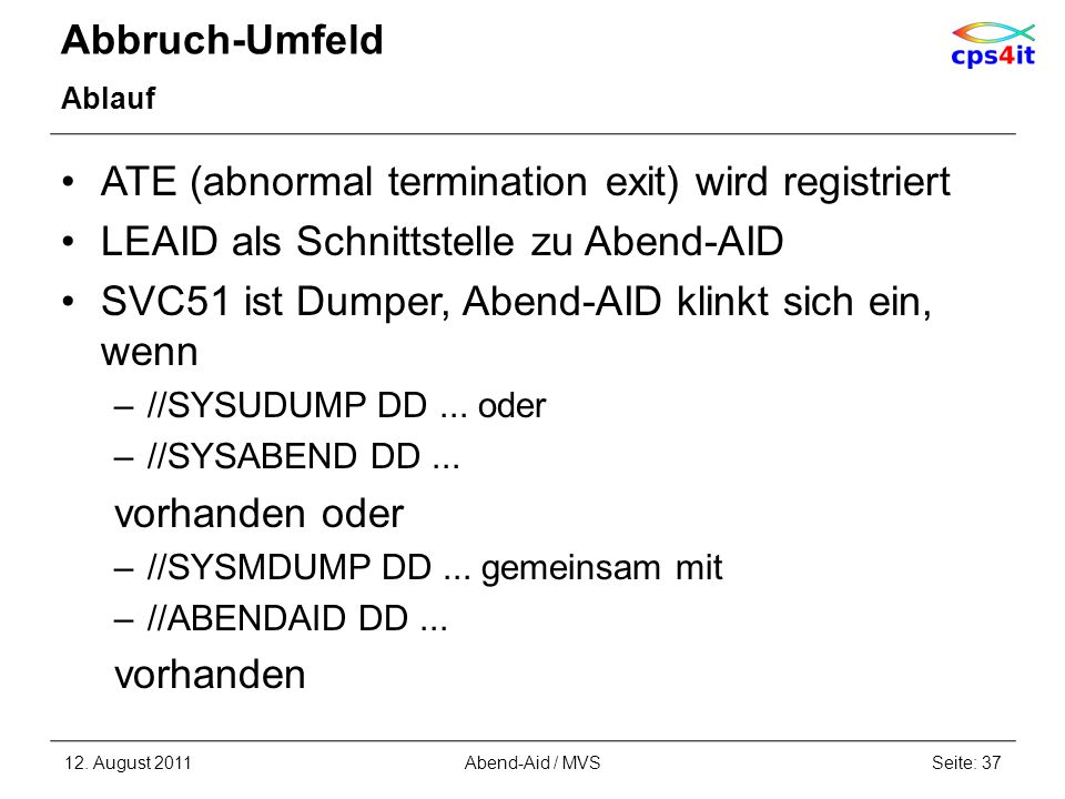 ATE (abnormal termination exit) wird registriert