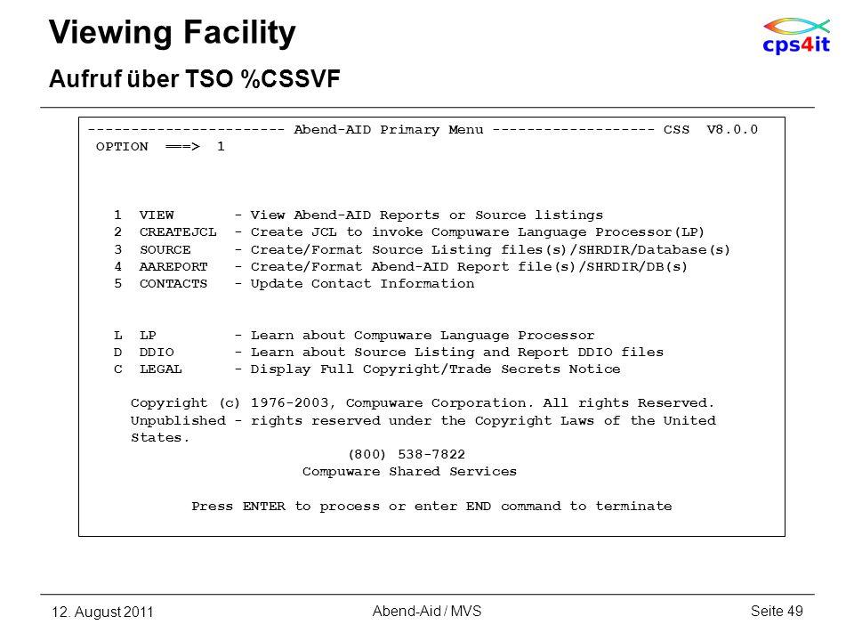 Viewing Facility Aufruf über TSO %CSSVF
