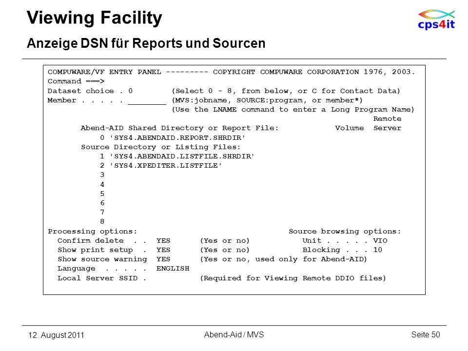 Viewing Facility Anzeige DSN für Reports und Sourcen
