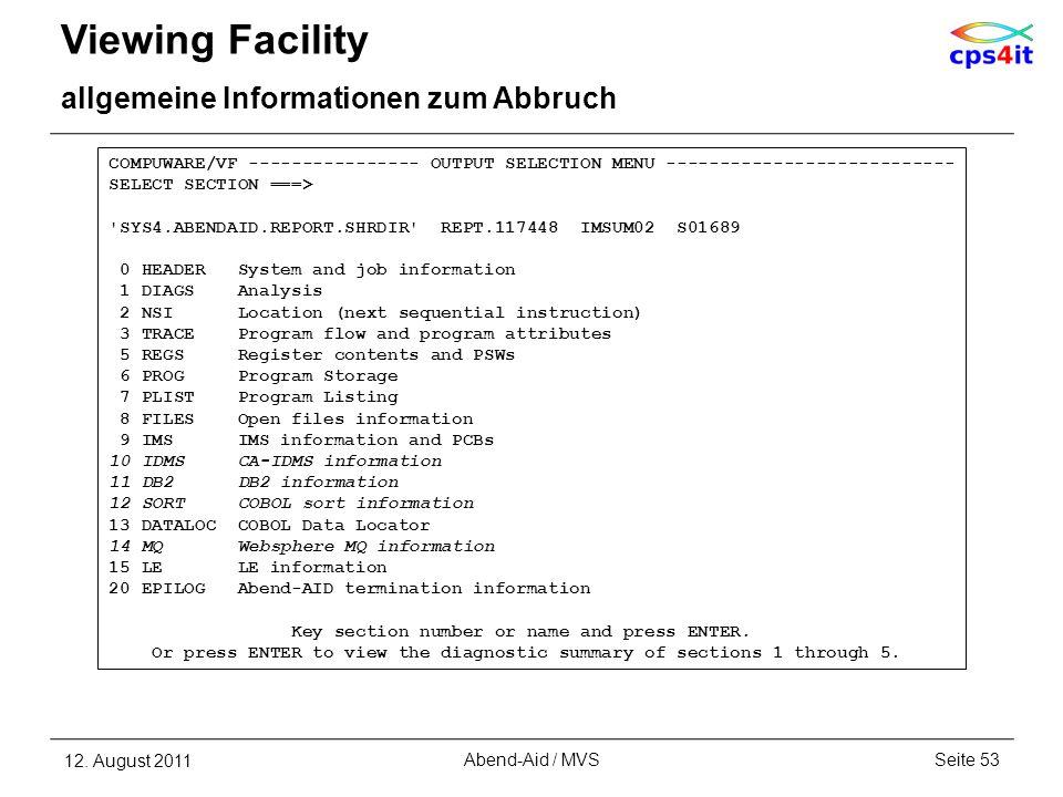 Viewing Facility allgemeine Informationen zum Abbruch