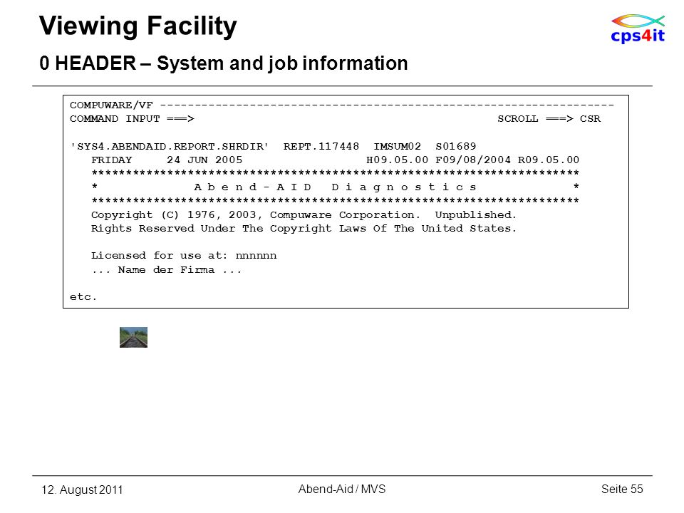 Viewing Facility 0 HEADER – System and job information