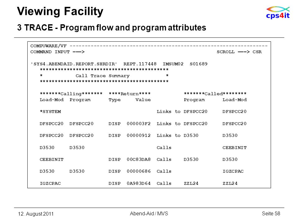 Viewing Facility 3 TRACE - Program flow and program attributes