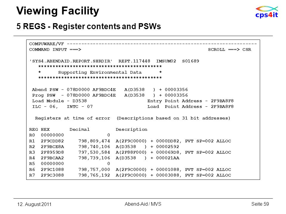 Viewing Facility 5 REGS - Register contents and PSWs