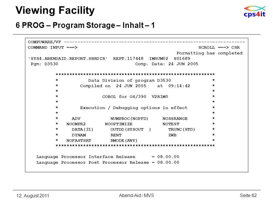 Viewing Facility 6 PROG – Program Storage – Inhalt – 1