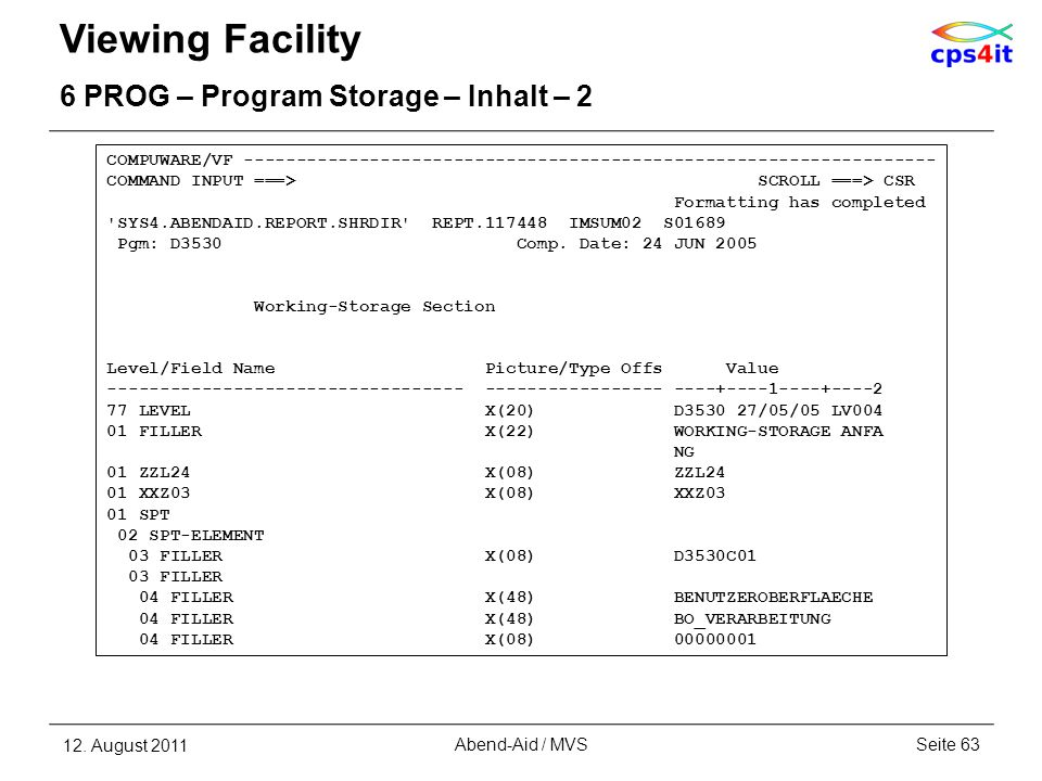 Viewing Facility 6 PROG – Program Storage – Inhalt – 2