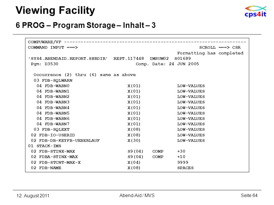Viewing Facility 6 PROG – Program Storage – Inhalt – 3