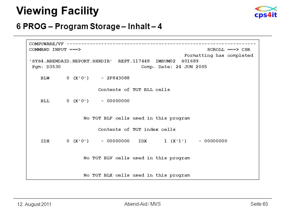 Viewing Facility 6 PROG – Program Storage – Inhalt – 4