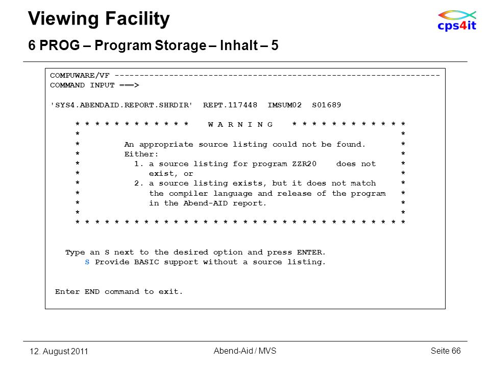 Viewing Facility 6 PROG – Program Storage – Inhalt – 5