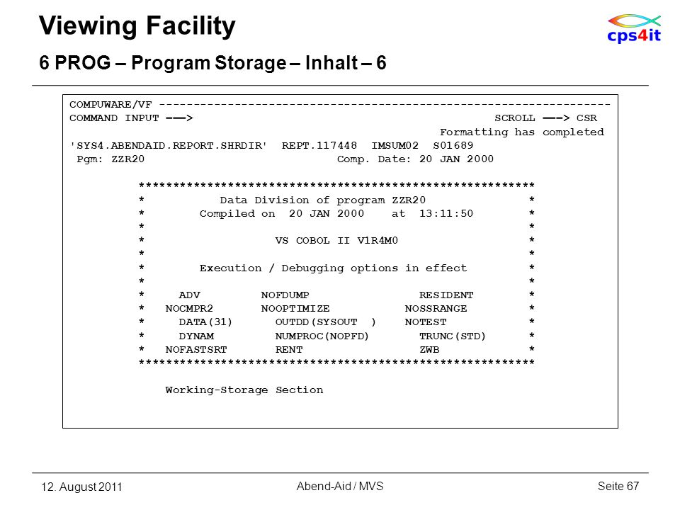 Viewing Facility 6 PROG – Program Storage – Inhalt – 6