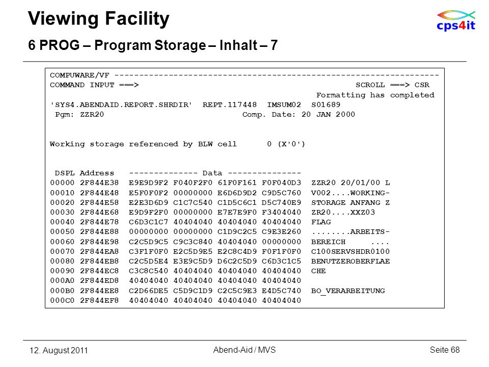 Viewing Facility 6 PROG – Program Storage – Inhalt – 7