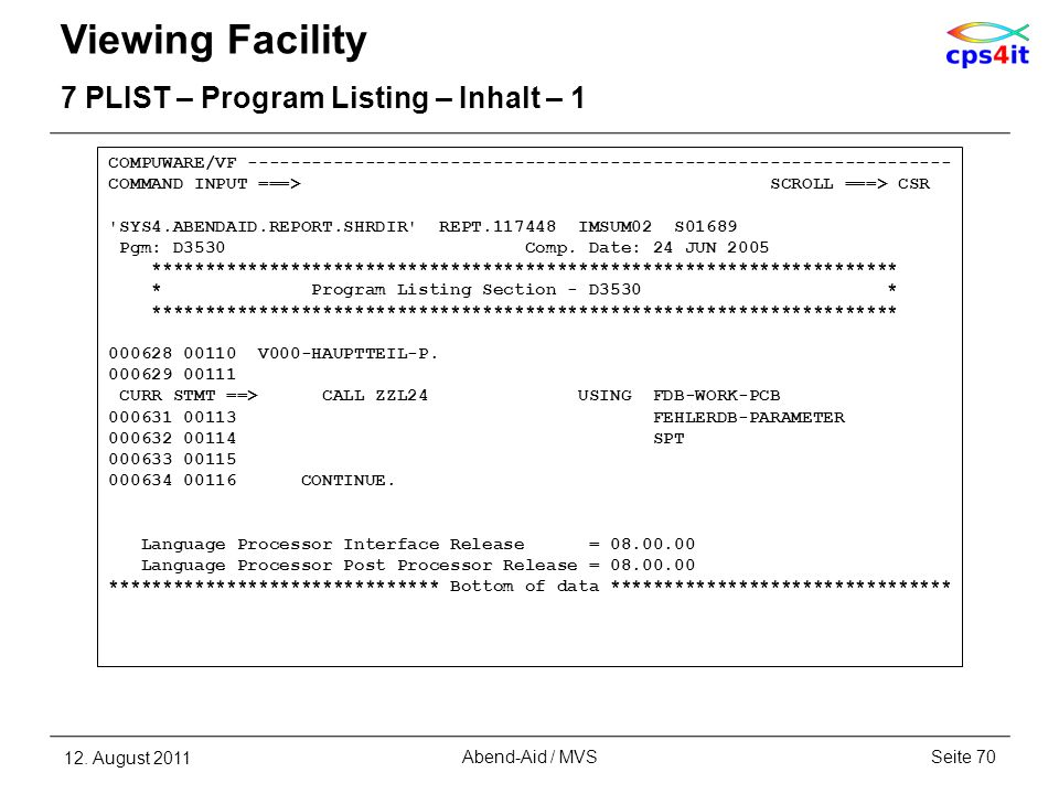 Viewing Facility 7 PLIST – Program Listing – Inhalt – 1
