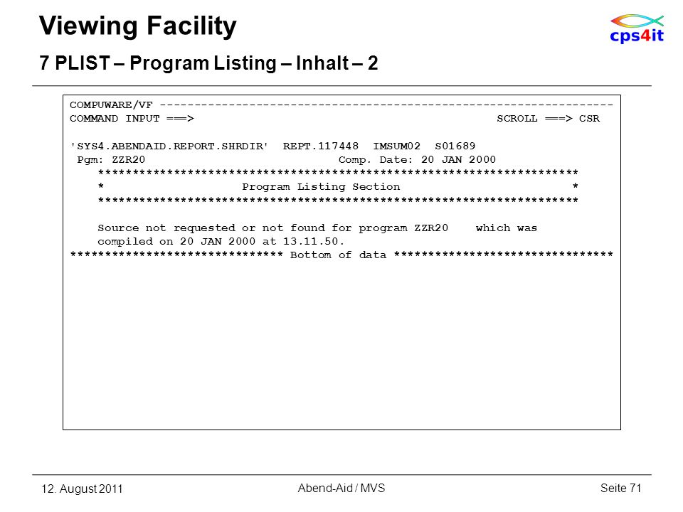 Viewing Facility 7 PLIST – Program Listing – Inhalt – 2