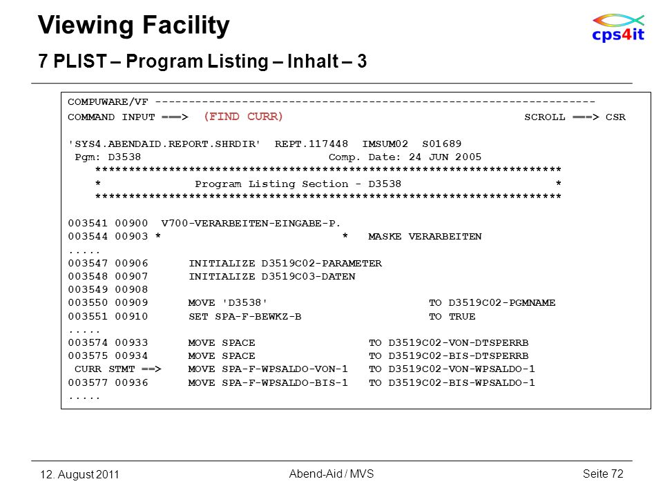 Viewing Facility 7 PLIST – Program Listing – Inhalt – 3