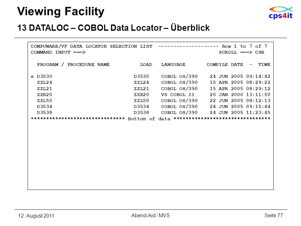 Viewing Facility 13 DATALOC – COBOL Data Locator – Überblick
