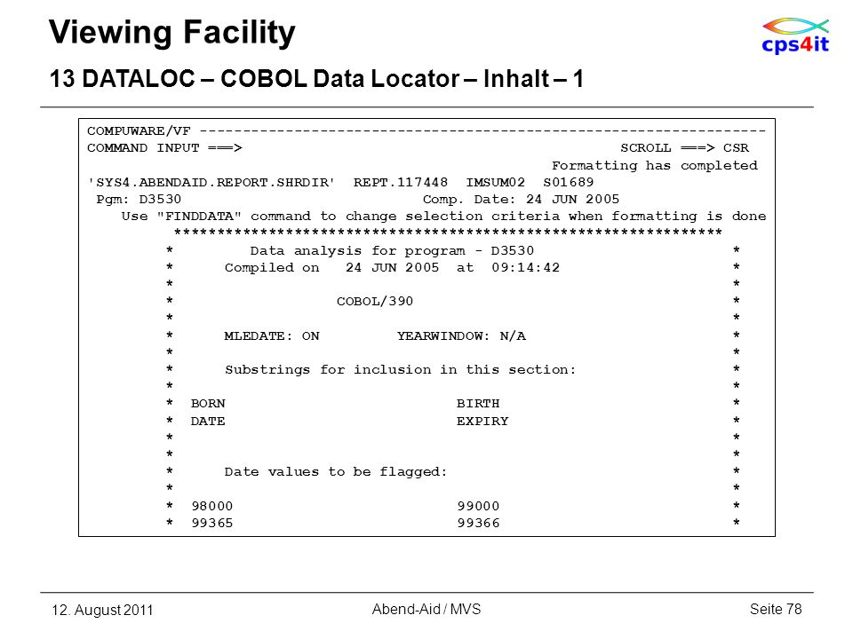 Viewing Facility 13 DATALOC – COBOL Data Locator – Inhalt – 1