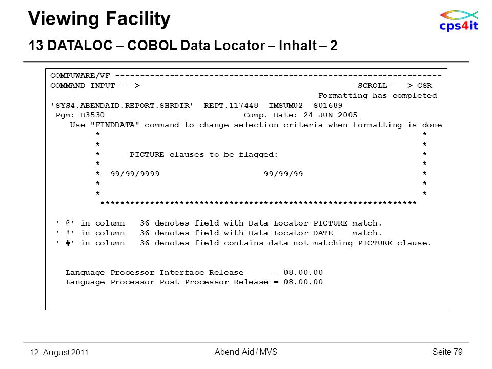 Viewing Facility 13 DATALOC – COBOL Data Locator – Inhalt – 2