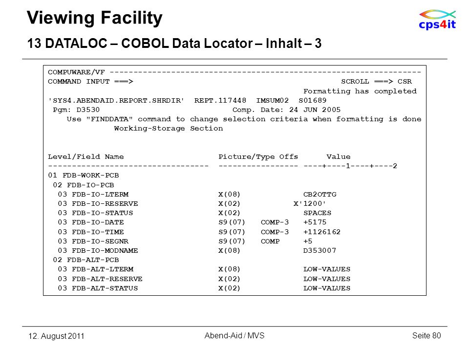 Viewing Facility 13 DATALOC – COBOL Data Locator – Inhalt – 3