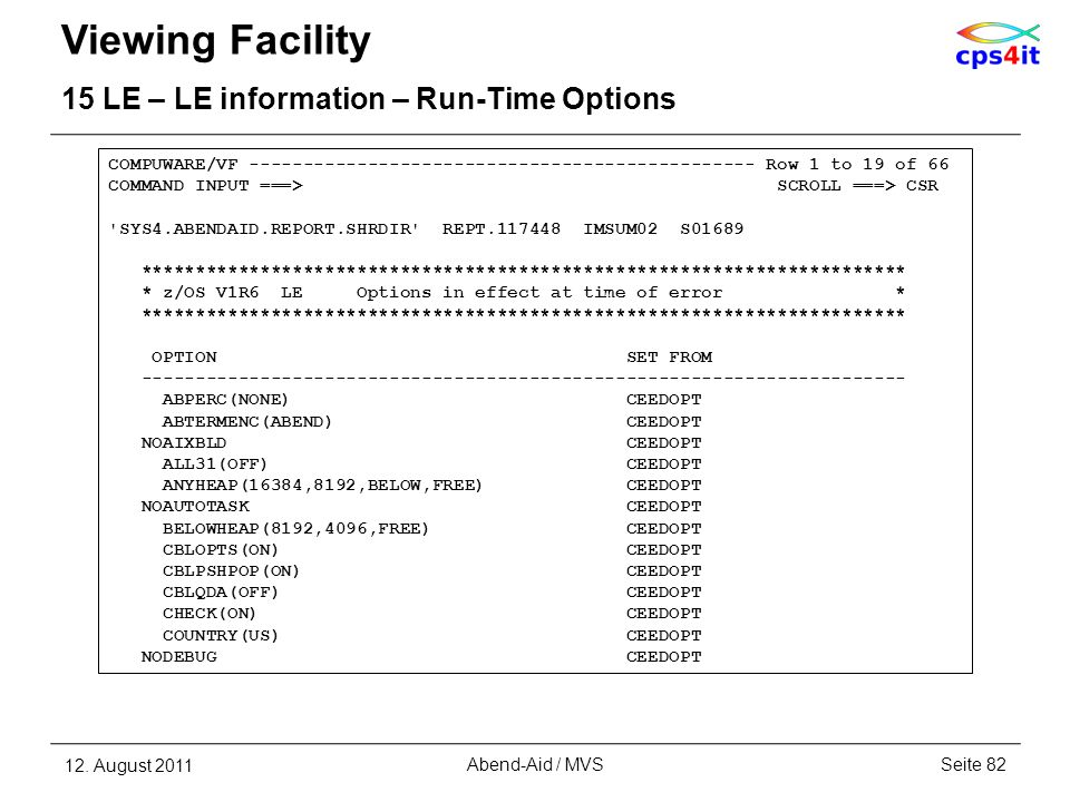 Viewing Facility 15 LE – LE information – Run-Time Options