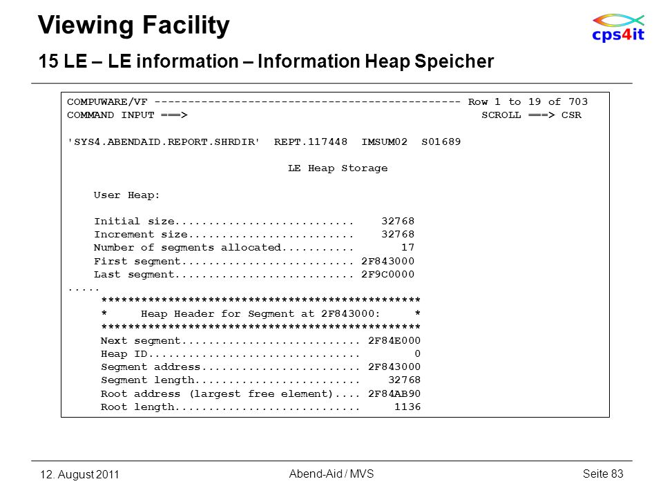 Viewing Facility 15 LE – LE information – Information Heap Speicher