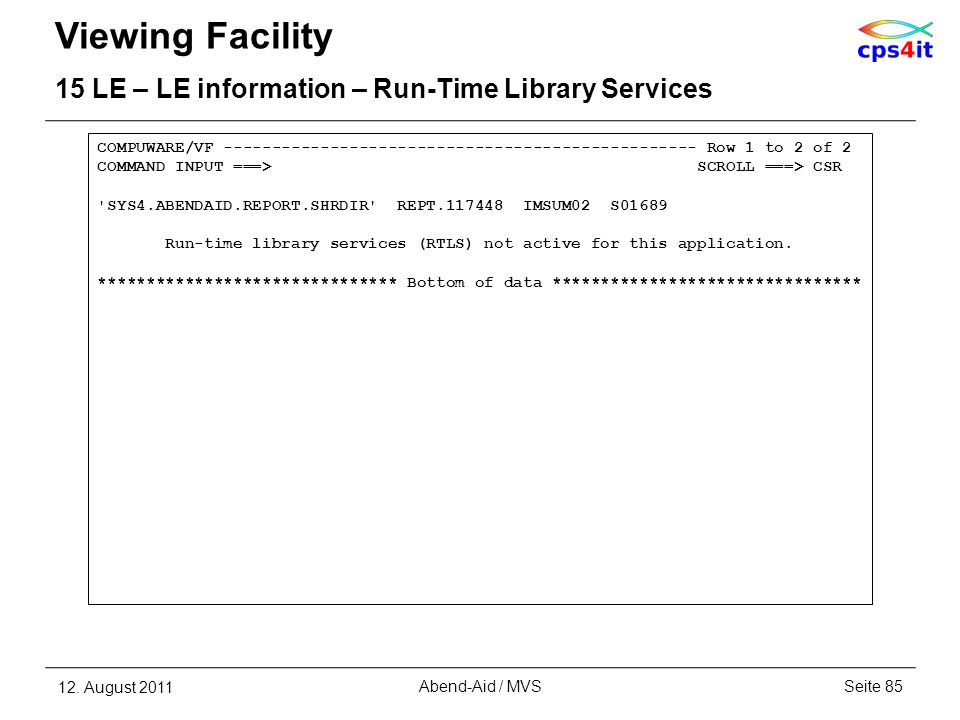 Viewing Facility 15 LE – LE information – Run-Time Library Services