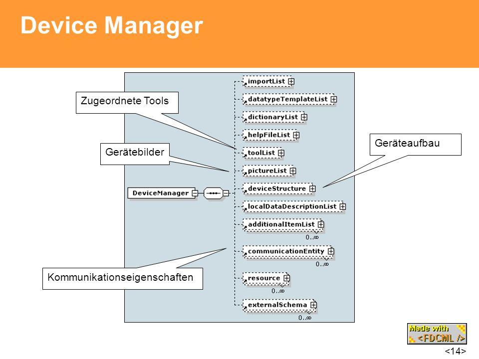 Device Manager Zugeordnete Tools Geräteaufbau Gerätebilder