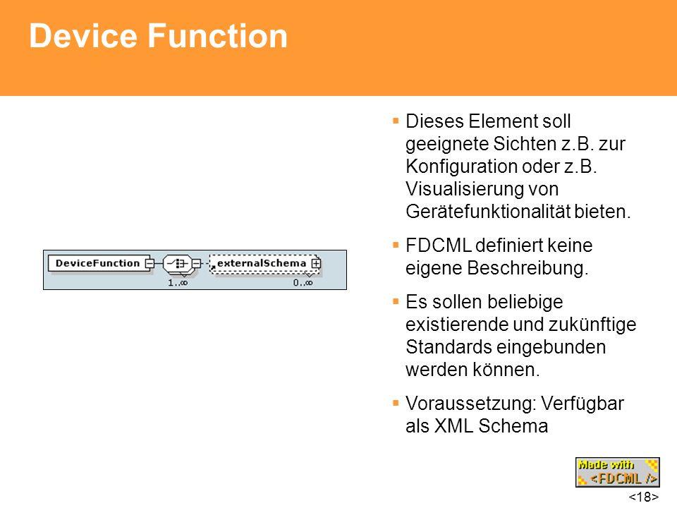 Device Function Dieses Element soll geeignete Sichten z.B. zur Konfiguration oder z.B. Visualisierung von Gerätefunktionalität bieten.